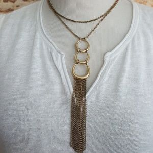 New Lucky Brand Hoop Link Fringe Gold Necklace